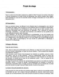 Projet De Stage Moniteur Educateur Rapport De Stage Zoouum