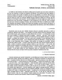 Nathalie Sarraute Enfance Extrait Commentaire De Texte