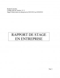 Rapport De Stage Intersport 3ème Rapport De Stage